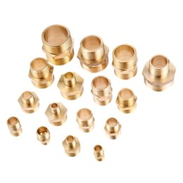 "Pipe Adapters Australia - Pipes Fittings Pipe Fittings 2Pcs Brass Pipe Hex Nipple Fitting Quick Adapter 1 8"" 1 4"" 3 8"" 1 2"" 3 4"" 1"" PT Male Thread Water"