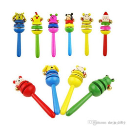 Baby Wooden Bell Rattle Australia - 2018 Lovely animals Toy Baby Toy Handle Wooden Activity Bell Stick Shaker Rattle Wooden hand bell free shipping