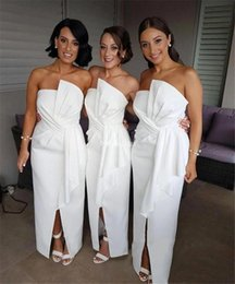 $enCountryForm.capitalKeyWord UK - Unique Design Long Bridesmaid Dresses 2019 Strapless Split Cheap Country Style Maid Of Honor Dresses Cheap Stylish Wedding Guest Gown Custom