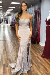 Cheap Red Lace Sweetheart Dress Australia - Robe De Soiree Sweetheart Lace Appliqued Mermaid Evening Dresses Sexy Long Satin Cheap Bridesmaid Gown Formal Party Dress