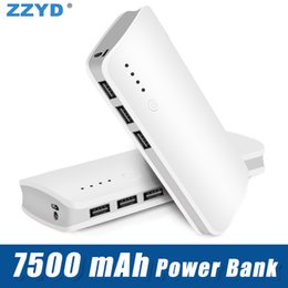 $enCountryForm.capitalKeyWord Australia - Portable 7500mAh Power Bank External Battery Pack 3 USB Phone Portable Charger Powerbank with retail package