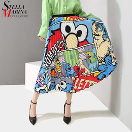 $enCountryForm.capitalKeyWord NZ - 2019 Korean Style Women Summer Colorful Cartoon Printed Long Skirt A-line Empire Elastic Waist Female Cute Wear Satin Skirt 4877 J190625
