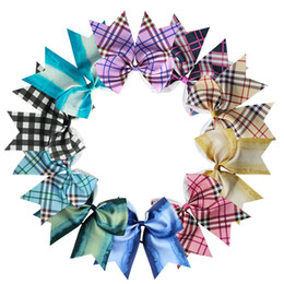 Chinese  Cute Girls Lattice Headwear 8 Inch Baby Headband Children Party Plaid Hairbands Bigc Dovetail Hair Accessories 60pcs TTA910 manufacturers