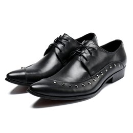 $enCountryForm.capitalKeyWord Australia - Plus Size Italian Pointed Toe Derby male paty prom shoes Man Modern Footwear Genuine Leather Wedding Party Men's Studded Runway Shoes