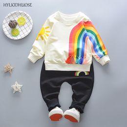 Beautiful Infants NZ - wholesale Baby Girls Boys Clothing Sets 2018 Spring Infant Cotton Beautiful Rainbow T Shirt+Pants Children Kids Casual