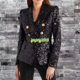 $enCountryForm.capitalKeyWord Australia - high end women girls sequins blazer jacket suit double breasted long sleeve shirt top quality paris fashion design luxury top outerwear coat