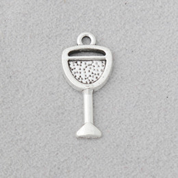 silver charm wine glass UK - Wholesale Antique Silver Plated Alloy Tableware Charms Wine Glass DIY Jewelry Charms Wholesale 10*21mm 100pcs AAC1322