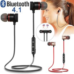 iphone earphones metal Australia - Music Magnet Metal Sports Bluetooth Earphones Stereo Wireless Earbuds Headset for Phones Samsung Xiaomi Huawei Mobile Phones