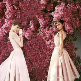$enCountryForm.capitalKeyWord Australia - Beautiful Audrey Hepburn Cocktail Dresses Vintage High Quality Light Pink Tea Length Celebrity Formal Party Gown