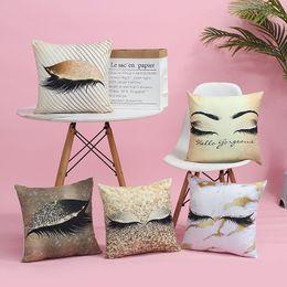 $enCountryForm.capitalKeyWord Australia - Pillowcase Cushion Set Hot Stamping Eyelash Pillow Creative Living Room Sofa Cushion Car Pillow Decorative Marble Eyelashes