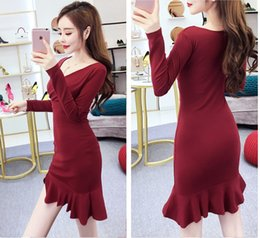 355be3a2702f Spring and Autumn Wear 2009 New Korean Sexy Women V-neck Long Sleeve  Fishtail Buttock Skirt Splitting Dress Short Skirt QC0125