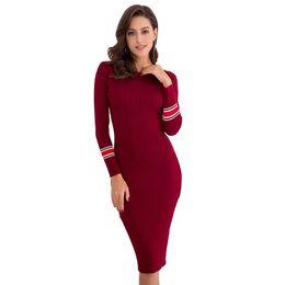 $enCountryForm.capitalKeyWord NZ - Explosion models women's new autumn and winter slim knit dress long skirt hot fashion simple temperament wild long-sleeved wholesale