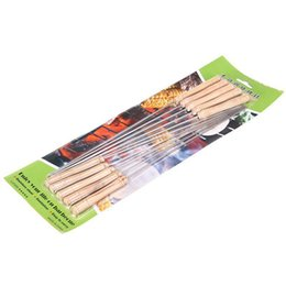 bbq fish tool UK - 10 Pcs BBQ Barbecue Roasting Needle Roasting Tools Brochette Tong Kebabe Skewers
