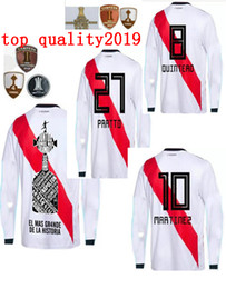 Discount river plate jerseys - 2019 River Plate Long sleeve home white Soccer Jersey River Plate Soccer Shirt 18 19 riverbed Customized football Unifor