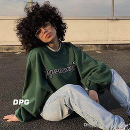 219447181 Gosha Rubchinskiy Brand Clothes Men Women Hip Pop Oversize Pullover Letters  Embroidery Fashion Sweatshirts Free Shipping