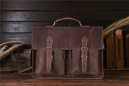Pc 15 Australia - Briefcase Man Business Bag with Strap 2 Usages Durable High-grade Leather Crazy Horse Leather fit 15'' PC Files Office Interview