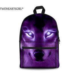 $enCountryForm.capitalKeyWord Australia - TWOHEARTSGIRL Classic Wolf 3D Printing Canvas Backpack Boys Cool School Student Back Bag Travel Rucksack Bagpacks Street Escolar