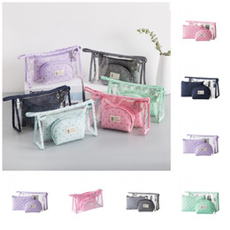 crown cosmetic bag Australia - Little Crown Printed Travel Cosmetic Bags Pvc Clear Wash Bag Portable Women Water Proofing Handbag 3pcs One Pack Large Capacity 8rj E1