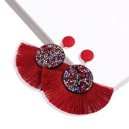 $enCountryForm.capitalKeyWord UK - Women Bohemia Long Tassel Earrings Summer Beach Pattern Crystal Lady Earring Vacation Personality Girls Beach Brand Studs