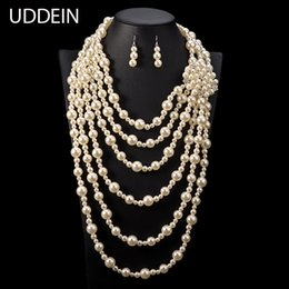 Statement Vintage Pearls Australia - UDDEIN exaggerate long necklace for women wedding jewelry sets multi layer pearl jewelry vintage statement African beads jewelry