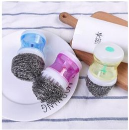 eco wash balls wholesale UK - Creative pressure liquid wash pot brush wire cleaning ball plastic 2019 household items kitchen cleaning ball