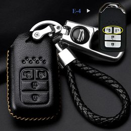 $enCountryForm.capitalKeyWord NZ - Cowhide Leather Car Key Case for Honda Civic City XRV CRV URV Accord Odyssey VEZEL CRIDER AVANCIER Metal key ring sleeve