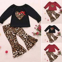 loved baby clothing Australia - Toddler Kid Baby Girl Love Heart Outfit Clothes T-shirt Tops+Long Pants Sets