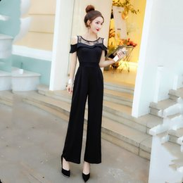Stitch Jumpsuits Australia - Real high-grade temperament jumpsuit 2019 new European and American fashion show thin lace stitching one-word collar jumpsuit