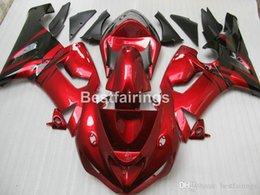 Red black kawasaki zx6R online shopping - High quality ABS plastic fairing kit for Kawasaki Ninja ZX6R wine red black fairings set ZX R MS60