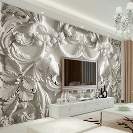 Interior Decor Styles Australia - Classical White European Style Relief 3D Stereoscopic TV Background Wall Murals Living Room Hotel Interior Home Decor Wallpapers