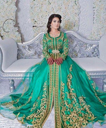 sheer sleeved prom dresses Canada - Long Sleeved Emerald Green Muslim Formal Evening Dress Abaya Designs Dubai Turkish Plus Sizes Prom Evening Dresses Gowns Moroccan Kaftan