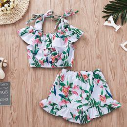 Girls Shorts Braces NZ - Girls Floral Braces Tops+Pants Suits Summer 2019 Kids Boutique Clothing 1-4T Little Girls Ruffle Flower Tops Shorts 2 PC Set