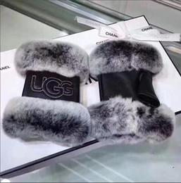Rabbit Fur Leather Gloves Australia - Women Winter Warmer Wrist Gloves Genuine Leather Rex Rabbit Fur Fingerless Driving Gloves Plaid Sheepskin Mittens womens gloves