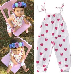 f719be033a6 INS infant baby boys girls plum red heart jumpsuit kids todderl summer one- piece dot children clothes boutiques