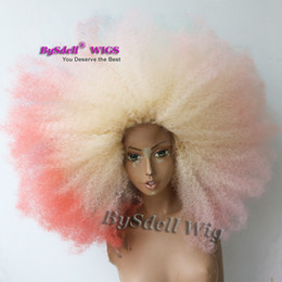 unicorn wig UK - colorful beauty big afro wigs long unicorn mermaid hairstyle wigs synthetic afro kinky curly lace front wigs for black women