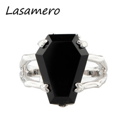 $enCountryForm.capitalKeyWord Australia - Lasamero Coffin Shape Natural Onyx Black Agate Gemstone 925 Sterling Silver Skeleton Claws Cross Finger Print Party Ring J190611