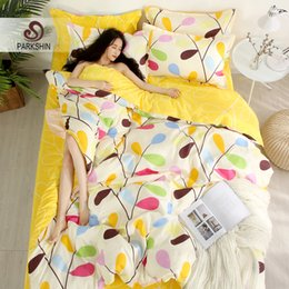 pink brown bedding for adults 2019 - ParkShin Yellow Bedding Set Duvet Cover Flat Sheet Pillowcase 3 4pcs Bed Cover Bedspread Home Decor For Adult Comforter
