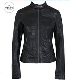 $enCountryForm.capitalKeyWord NZ - New Solid Fashion Womens Jacket European Fashion Leather Jacket Cleaning Temale Single Pu Leather Motorcycle Womens Leat