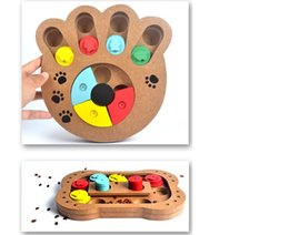 Pet Puzzle Toys NZ - Pet dog puzzle toy Bone paw print New Wood Play Feeding Multifunctional P et Toys Dog Supplies