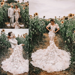 $enCountryForm.capitalKeyWord Australia - Pallas Couture Mermaid Wedding Dresses 2019 Off Shoulder Cathedral Train 3D Floral Country Lace Applique Bridal Wedding Gown