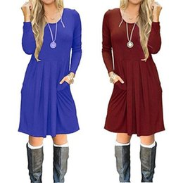 $enCountryForm.capitalKeyWord NZ - Round Neck Long Sleeve Pocket Dress Large Pendulum Mid Waist Solid Color Splice womans Clothing Leisure 15