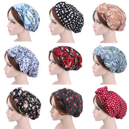 $enCountryForm.capitalKeyWord Australia - Wholesale New Women Cotton Pastoral Print Turban Cap Long Ribbon Tie Head Chemotherapy Cap Head Covers Lady Hair Accessories