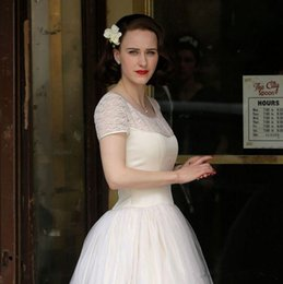 Short Red Illusion Neckline Dress Australia - The Marvelous Mrs. Maisel retro wedding dress 50s wedding dresses Illusion Neckline short Sleeves Lace top tulle skirt ivory bridal gown