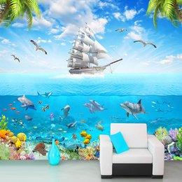 Dolphin Cartoon Child Australia - Custom Photo Wallpaper Sailing Dolphin 3D Underwater World Cartoon Picture Living Room Children Bedroom Decoration Wall Mural