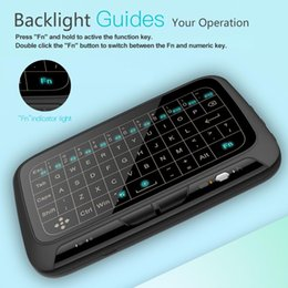mini qwerty keyboard for laptop Canada - Backlit H18 2.4GHz Mini Wireless QWERTY Keyboard Full Screen Touchpad Large Fly Air Mouse H18 Remote Control Backlight for Android TV Box