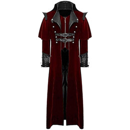 Slim Belts For Men UK - 2019 Men Retro Gothic Long Coat Tailcoat Vintage Steampunk Long Jackets Men Vampire Cos Costume For Party Luxury Royal Coats