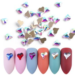 crystal stones flat back rhinestones UK - 10pcs 3D Crystal Heart Nail Art Rhinestones for Manicure Flat Back Shiny Glass Stone Gems Glitter Jewelry Nail Decorations TR790