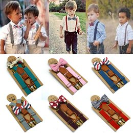Discount plastic suspender clips wholesale - Baby High Elastic Bow Ties Set Baby Boys Toddler Wedding Matching Braces Suspenders Bowknot Kids Gentle Bow Ties with Me