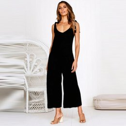 $enCountryForm.capitalKeyWord Australia - New Women Sexy Backless Jumpsuits Summer Hot Sale Sleeveless Deep V-Neck Wide Leg Jumpsuit Solid Color Slim Bow Jumpsuit