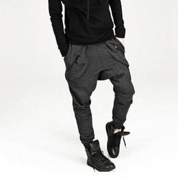 China New Mens Drop Crotch Pants Baggy Hip Hop Sweatpants Trousers, Korean Harem Pants Joggers Outdoors Bandana Sport Pants cheap korean baggy pants men suppliers